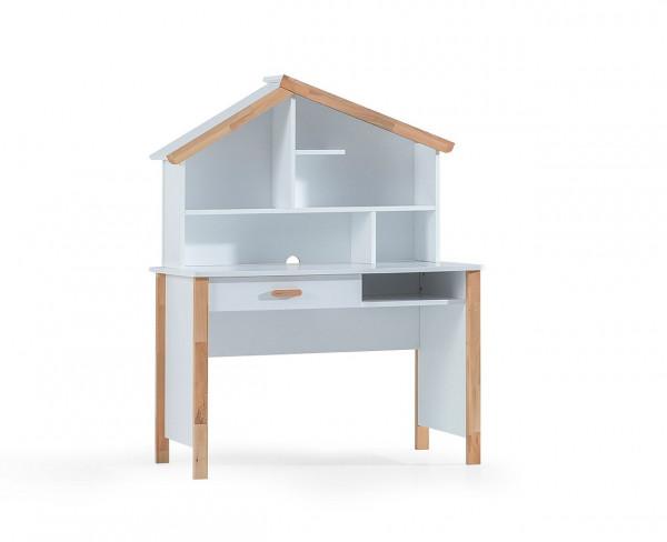 Schreibtisch mit Aufsatz House weiß Buche massiv