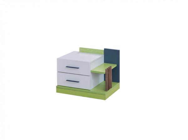 Nachtkonsole Fußball weiß grün mit Schubladen