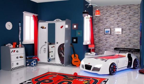 Kinderzimmer Turbo weiß mit Autobett 3-teilig