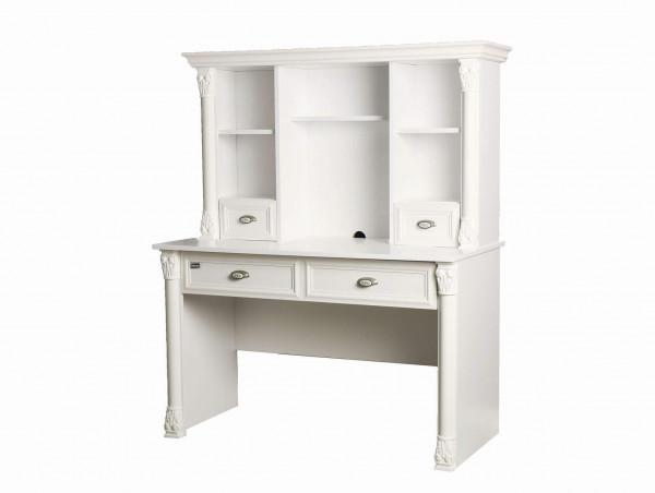 Schreibtisch mit Aufsatz Romantic Weiß Matt