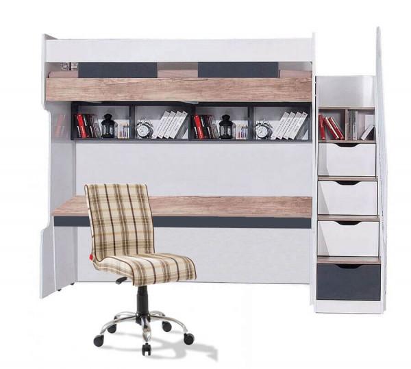 Hochbett Compact 90x200 cm mit Schubladentreppe, 2 Regale und Schreibtisch