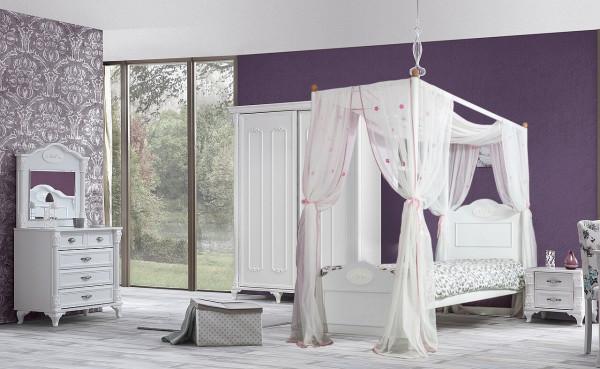 Mädchenzimmer Romantic mit Himmelbett weiß 4-teilig