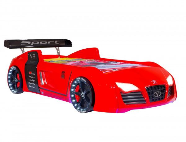 Autobett Turbo V8 rot mit LED Beleuchtung